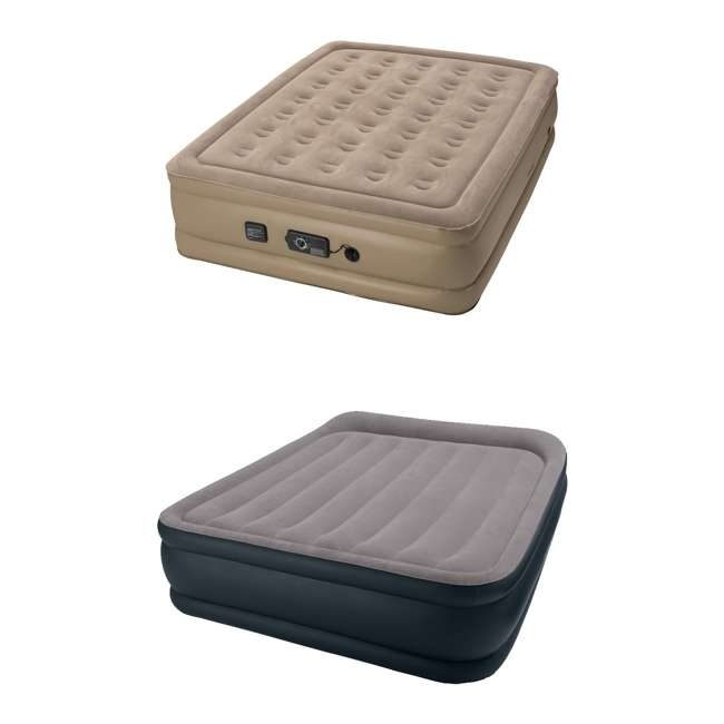 840017 + 67737E InstaBed Raised Queen Airbed with Never Flat Air Pump & Deluxe Pillow Rest Airbed