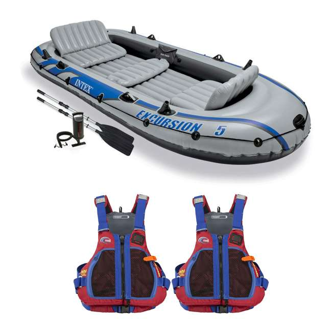 68325EP + 2 x MTI-716D-0BB56 Intex Excursion Inflatable Raft, 2 Oars and 2 Life Jackets, L/XL