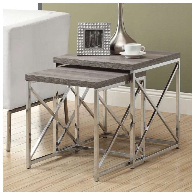 MS-VM3255-U-A Monarch Specialties 2-Piece Accent End Tables, Dark Taupe (Open Box) (2 Pack) 2