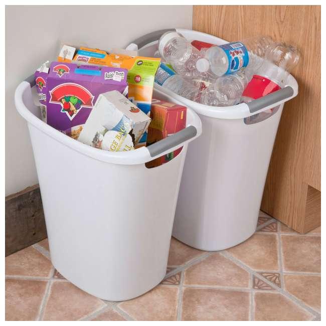 6 x 10638006 Sterilite 6 Gallon White Ultra Wastebasket Trash Can, 6 Pack  5
