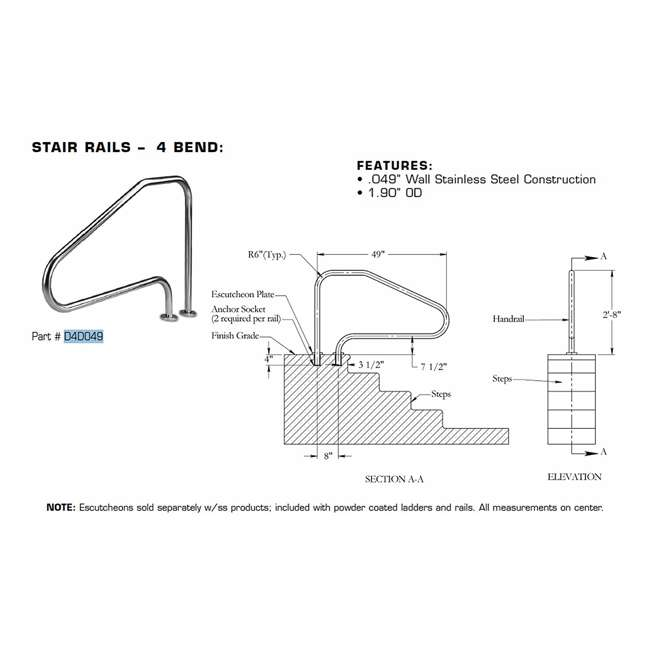 6 x D4D049 Inter-Fab D4D049 49-Inch 4-Bend Pool Stair Rail (6 Pack) 1