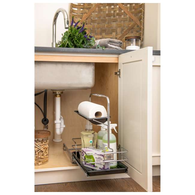 544-10C-1 Rev-A-Shelf 544-10C-1 Undersink Base Cabinet Slide Out Cleaning Caddy. Silver 5