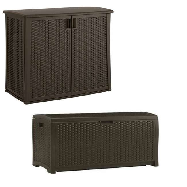 BMOC4100 + DBW7300 Suncast 97 Gal Backyard Storage Entertaining Station & 73 Gal Outdoor Deck Box