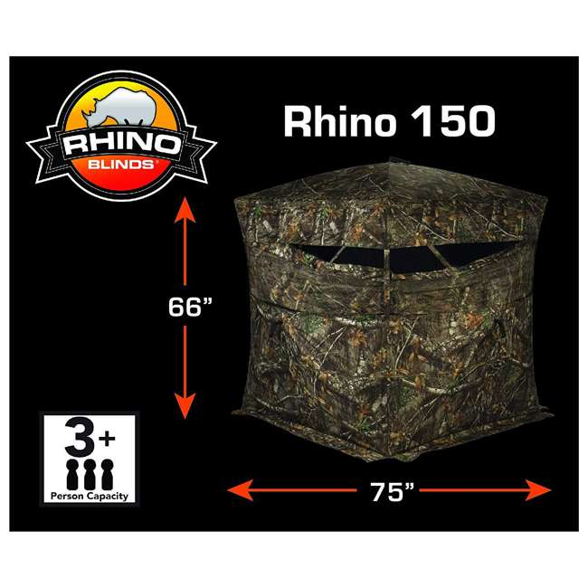 R150-RTE Rhino Blinds R150-RTE RealTree Edge 3 Person Game Hunting Ground Blind, RealTree 1