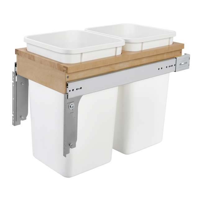 4WCTM-15DM2-25 Rev-A-Shelf 4WCTM-15DM2 Double 27 Qt Pull Out Top Mount Trash Container, White