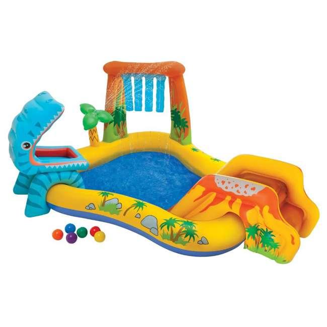 "57444EP + 57470EP Intex 8' x 6.25' x 43"" Dinosaur Play Center w/ 5' x 48"" Kids Swimming Pool 1"