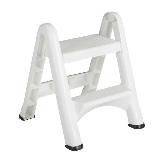 FG420903WHT Rubbermaid EZ Step 2 Step Folding Step Stool with Foot Pads, White (2 Pack) 1