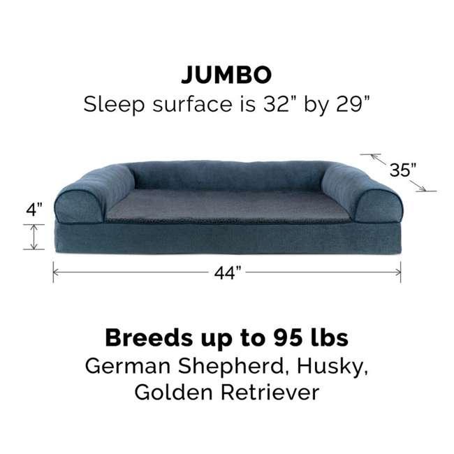 85503225BX Furhaven Cooling Gel Memory Foam Faux Fleece Couch Pet Bed, Orion Blue, Jumbo 2