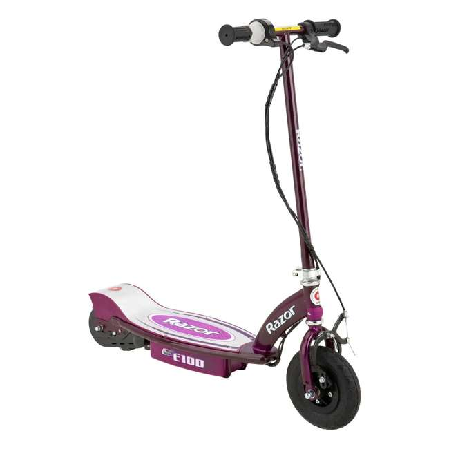 13111250 + 97778 Razor E100 Electric Motor Powered Girls Scooter (Purple) & Youth Sport Helmet 1