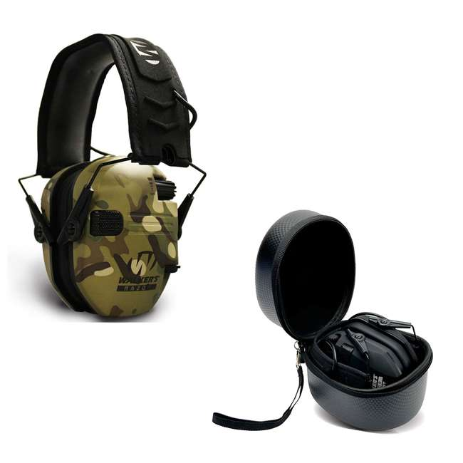 GWP-RSEM-MCC + GWP-REMSC Walkers Razor Slim Electronic Ear Muffs (Multicam Camo Tan) & Carrying Case