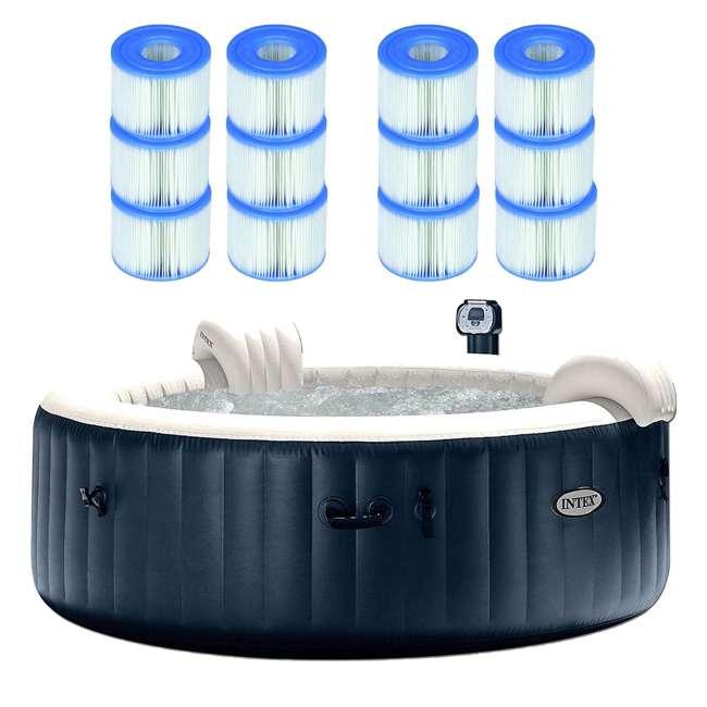 28409E + 6 x 29001E Intex Pure Spa 6-Person Hot Tub with 12 Type S1 Pool Filters