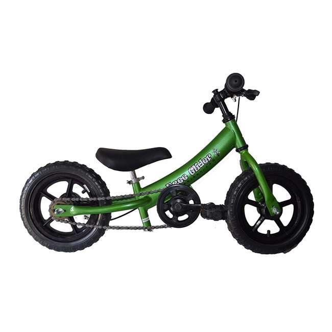 EG12-G Glide Bikes Ezee Glider Unisex Sleek Kids Adjustable Mini Balance Bike, Green 1