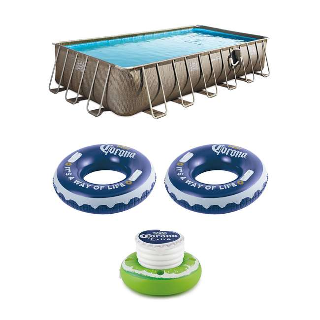 P42412525167 + 2 x K10423D00167 + KF0226B00167 Summer Waves 24 Foot Wicker Pool w/ Inflatable Corona Float (2 Pack) & Cooler