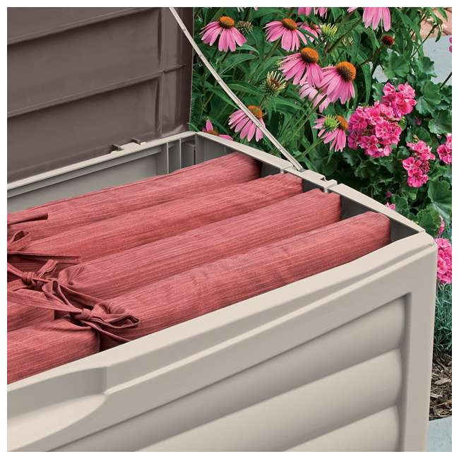 3 x DB10300 Suncast 103 Gallon Capacity Resin Outdoor Patio Storage Deck Box, Taupe (3 Pack) 3