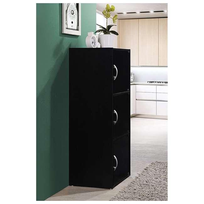 HID3 BLACK Hodedah 3 Door Enclosed Multipurpose Storage Cabinet for Home or Office, Black 2