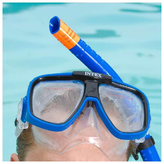55648E Intex Reef Rider Diving Mask & Easy Flow Snorkel Set for Ages 14+, Colors Vary 5