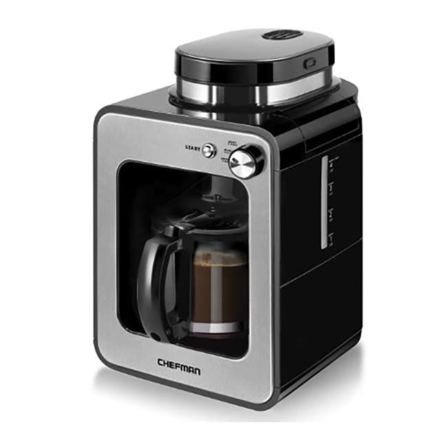 RJ14-4-GB Chefman Grind and Brew 4-Cup Compact Coffee Maker and Grinder, Stainless Steel 1