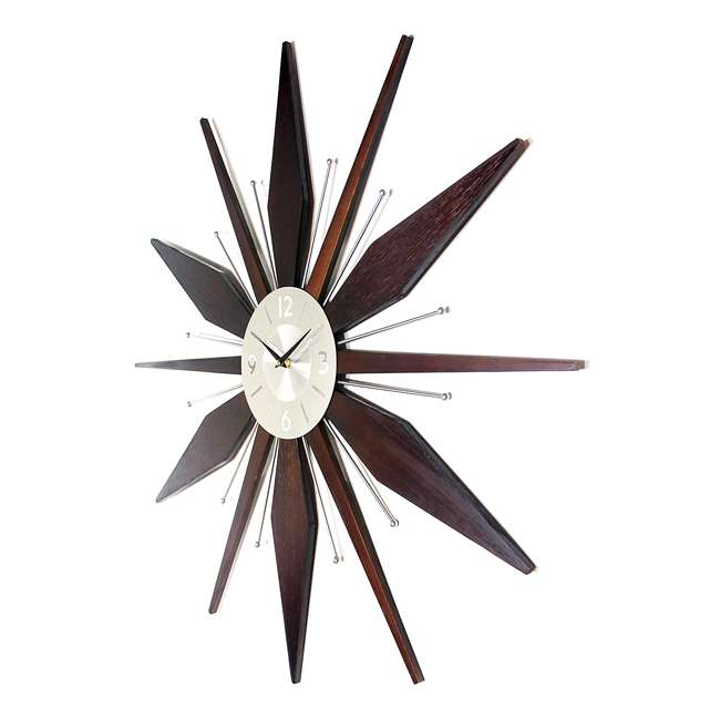 15201NT Infinity Instruments Sunburst Mid-Century Utopia Metal Wall Clock, Dark Walnut 2