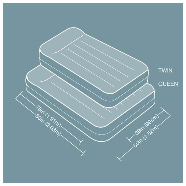 3 x 64135EP Intex Deluxe Raised Air Mattress w/ Built-In Pump, Queen (3 Pack) 6