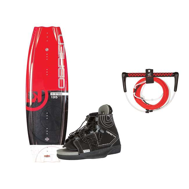 2180194-MW + AHWR-8 O'Brien Wakeboard with Clutch Size 4 to 8 Boots & Airhead 70 Foot Tow Rope, Red