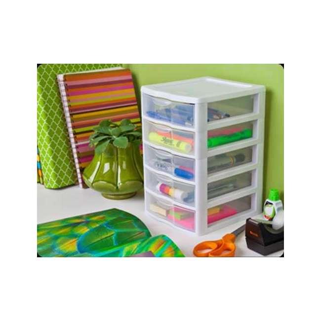 8 x 20758004-U-A Sterilite Clearview Small 5 Drawer Desktop Storage Unit White (Open Box)(8 Pack) 2