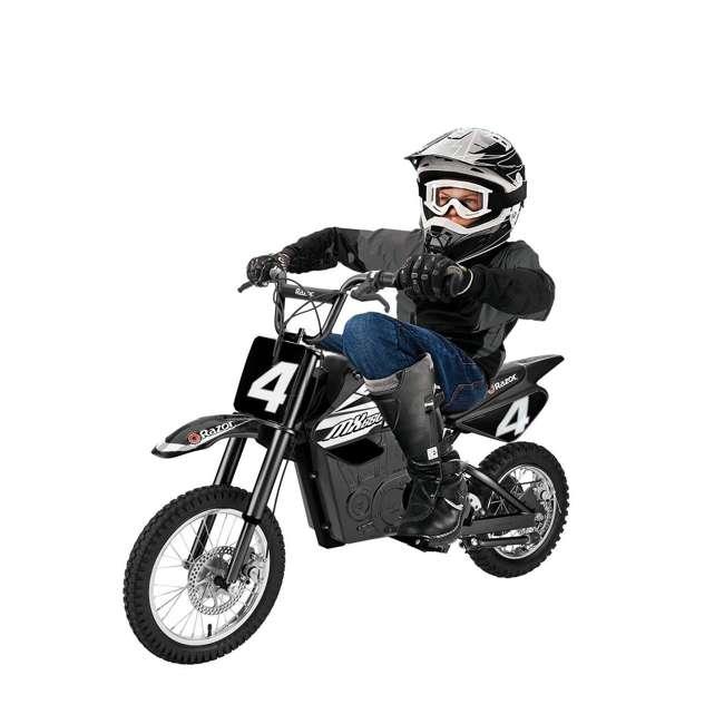 15128008 + 15165001 Razor MX400 & MX650 Electric Toy Motocross Motorcycle Dirt Bike, White & Black 8