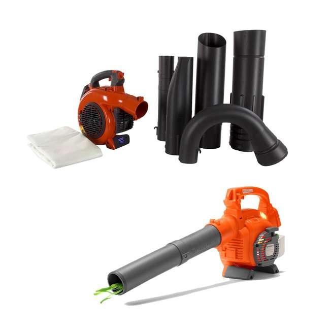 HV-BL-952711902 + HV-TOY-589746401 Husqvarna 125BVx 28cc 2 Cycle Gas Leaf Blower Vacuum and Kids Toy Leaf Blower