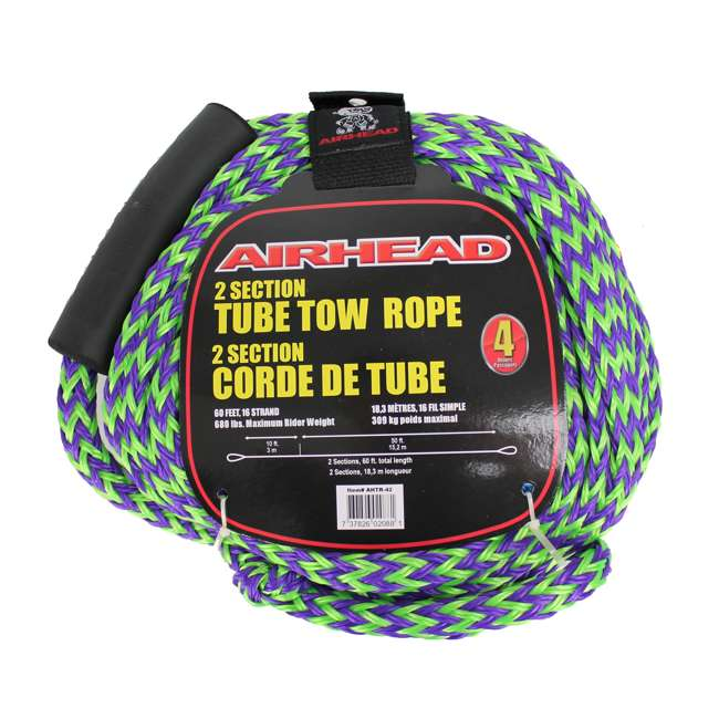 53-1329 + AHTR-42 Sportsstuff 1-4 Person Boat Lake Tube | Airhead Boat 2 Section Tube Tow Rope for 4 Rider 7