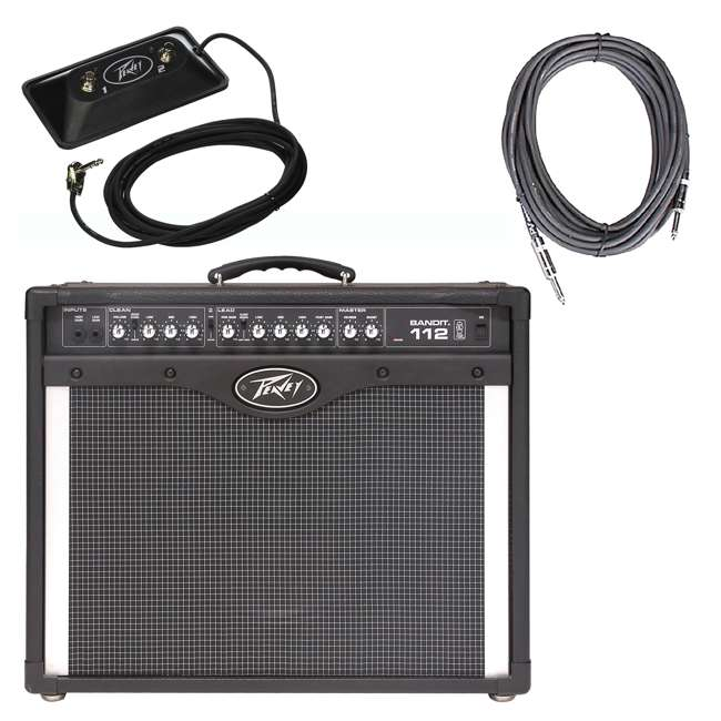 BANDIT-112 + LED-FOOTSWITCH + PV-10IC Peavey Bandit 112 12-Inch TransTube Amplifier + Footswitch + 10' DMX Cable