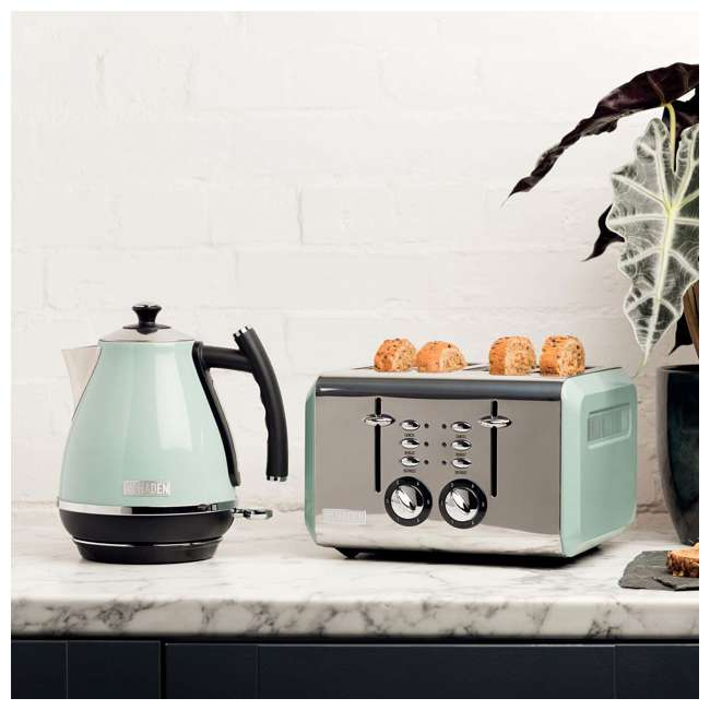 75009 Haden Cotswold 4-Slice Wide Slot Stainless Steel Body Retro Toaster, Sage Green 5
