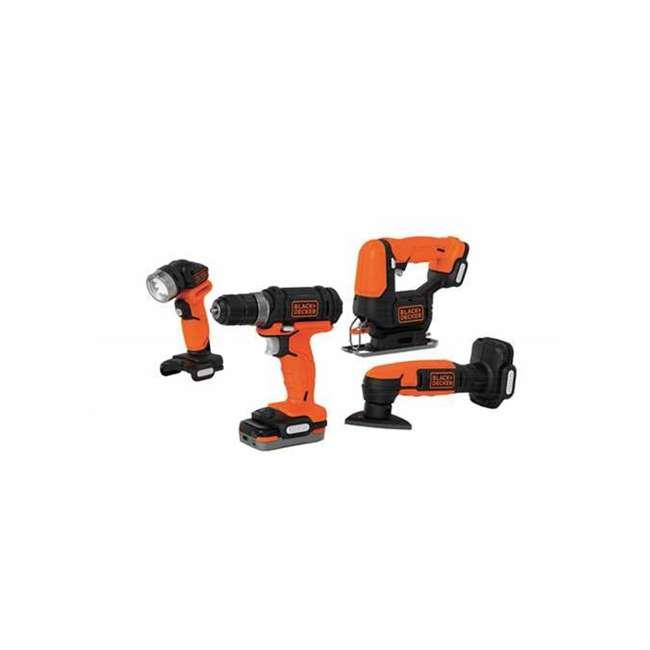 BDCK502C1 + 71-912 Black & Decker Drill Driver, Jig Saw, Sander & Flashlight Kit & Bit Set