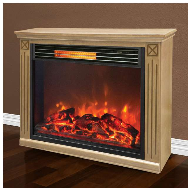 LS-ZCFP1062US Lifesmart Light Oak Infrared Fireplace w/ Remote (2 Pack) 4