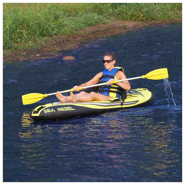 2365-RV RAVE Sports 1-person Sea Rebel Inflatable Kayak, Yellow  (2 Pack) 4
