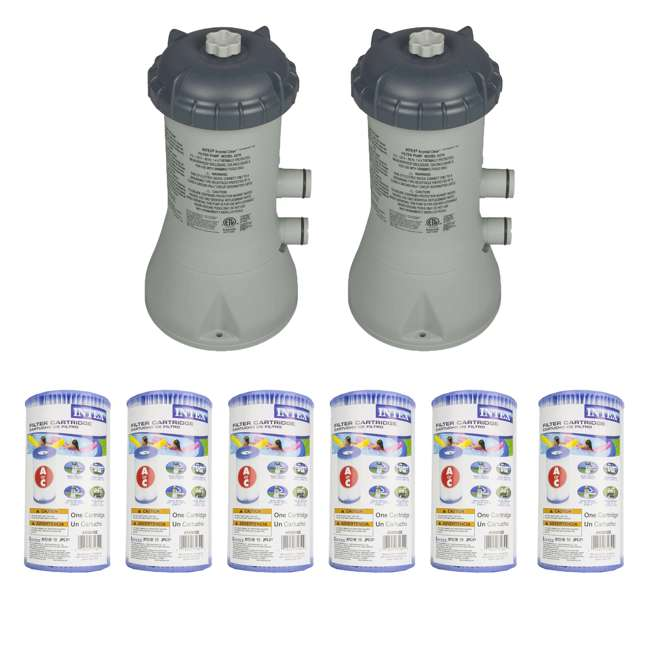 28637EG + 6 x 29000E Intex 1000 GPH Easy Set Pool Filter Pump (2 Pack) + Filters