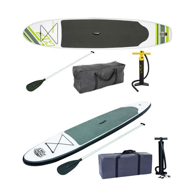 15477-BW + 65055-BW Bestway Inflatable Hydro Force Stand Up Paddle Board, Green + Gray Board