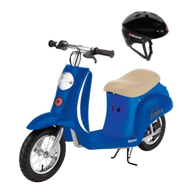 15130641 + 97780 Razor Pocket Mod Electric Motor Retro Kids Scooter, Blue & Helmet