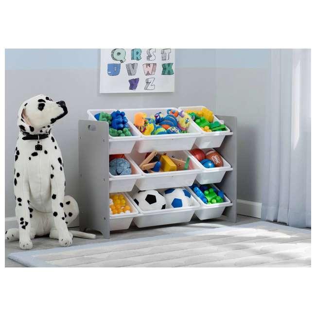TB83461GN-026 Delta Children MySize Kids 9 Bin Plastic Toy Box Storage Organizer Shelves, Gray 2