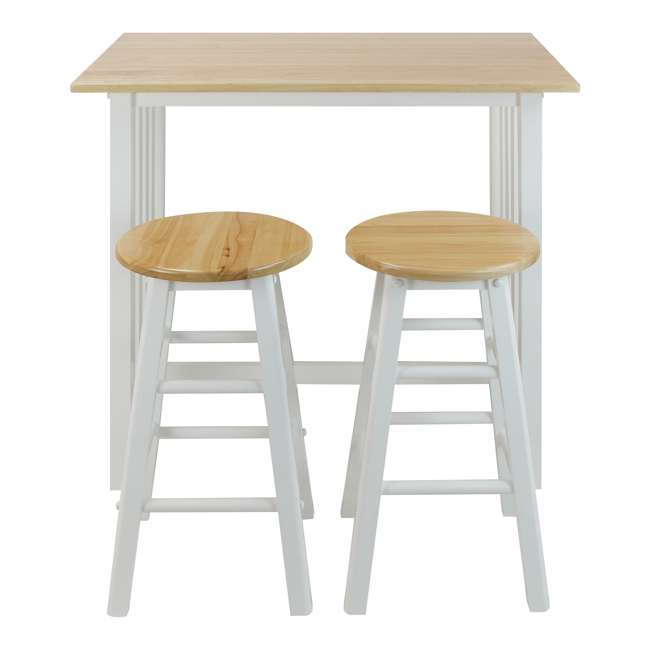 124-91 Casual Home 3 Piece Solid Wood Pub Style Breakfast Lunch Cart Island Set, White  1