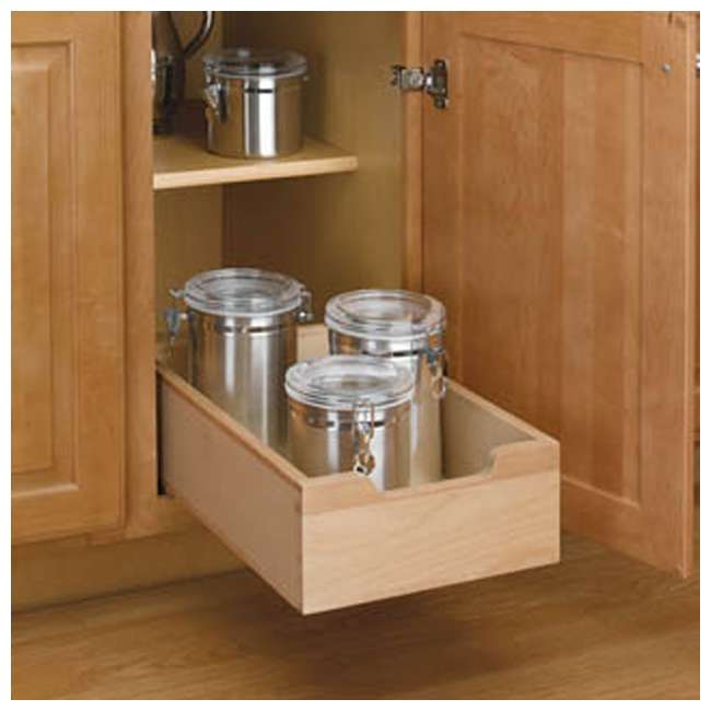 4WDB-12 Rev A Shelf Small Wood Base Kitchen Under Sink Cabinet Pull Out Drawer, Natural 4