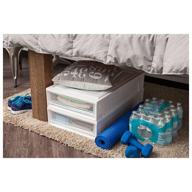 588544-2PK IRIS USA Under Bed 27.5 Quart Box Chest Drawer Storage Container, White 2
