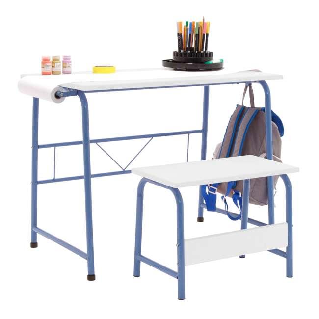 38022 Studio Designs Homeroom 2 Piece Art Table & Bench Set w/ Paper Roll, Blue/White 1