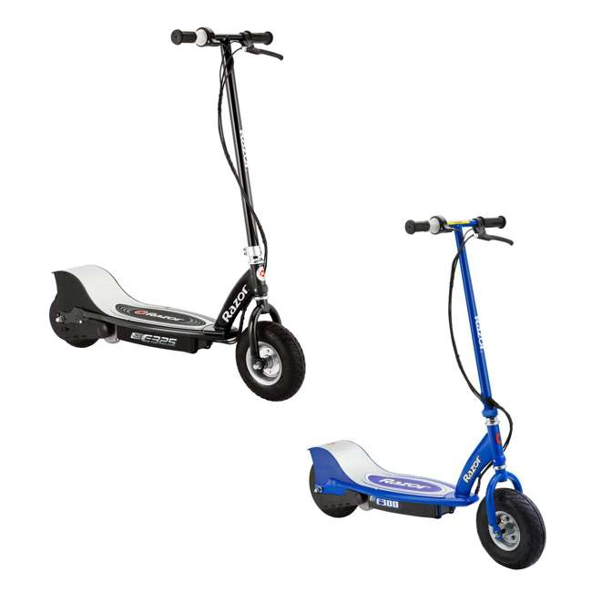13116397 + 13113640 Razor Electric Motorized Scooters, 1 Black & 1 Blue