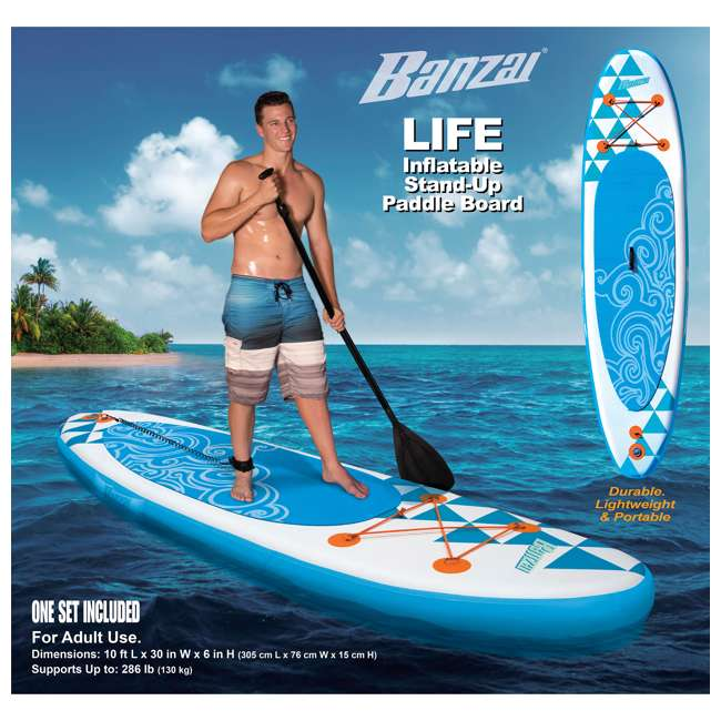 85739 Banzai 10' Inflatable SUP Stand Up Paddle Board Adjustable Paddle & Backpack 11