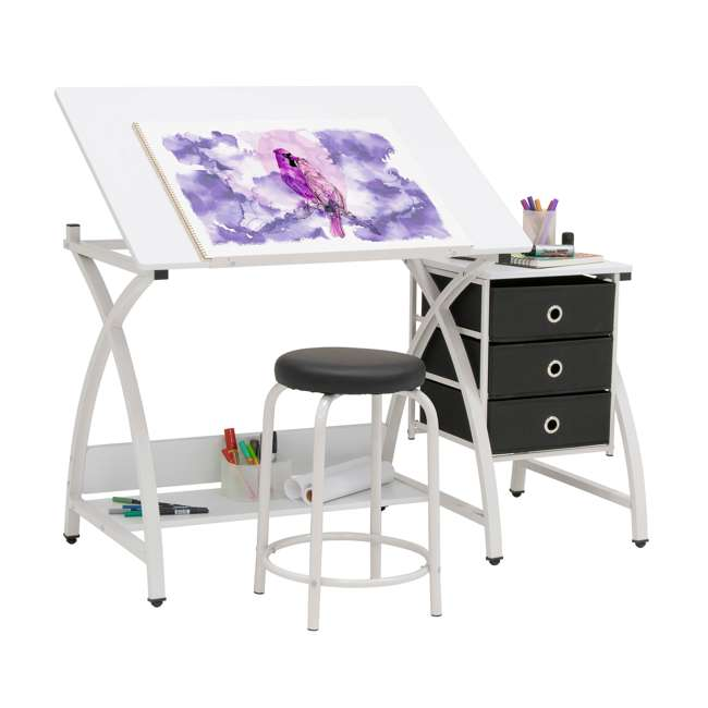STDN-38016 SD STDN-38016 Comet 2 Piece Craft Table with Adjustable Top and Stool, White 2