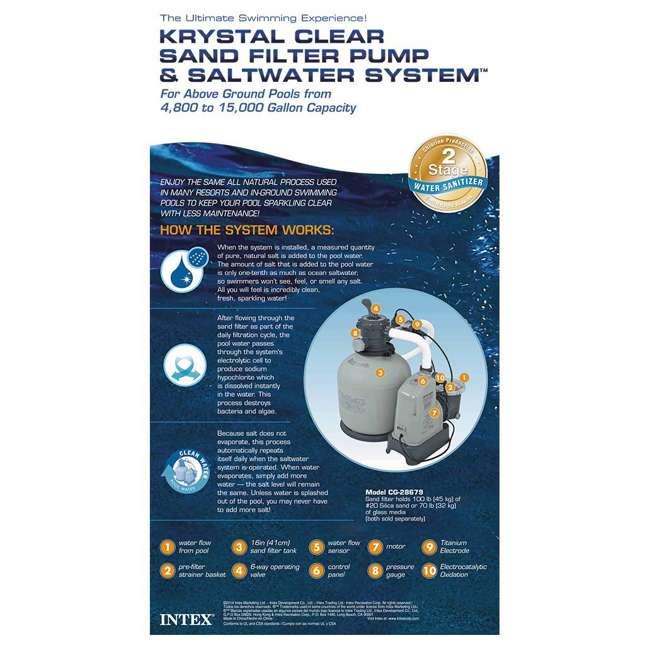 28679EG Intex Krystal Clear 2650 GPH Saltwater System & Sand Filter Pump  3