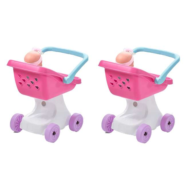 854100 Step2 Love & Care Baby Doll Kids Push Stroller Toy, Pink (2 Pack)