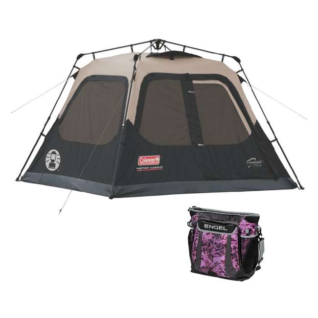 2000018016 + ENGCB2-P1PO Coleman 4-Person Family Instant Tent & 24 Can Backpack Cooler