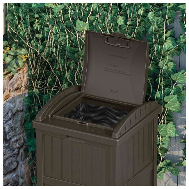 GH1732J-U-A Suncast Trash Hideaway Outdoor Garbage Bin, Java (Open Box) (2 Pack) 1