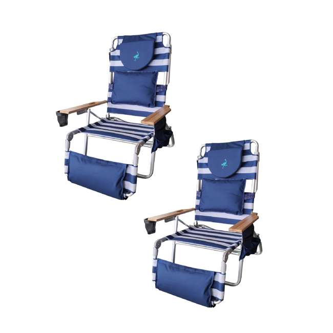 D3N1-1001S Ostrich Deluxe Padded 3-N-1 Outdoor Lounge Reclining Beach Chair, Blue (2 Pack)