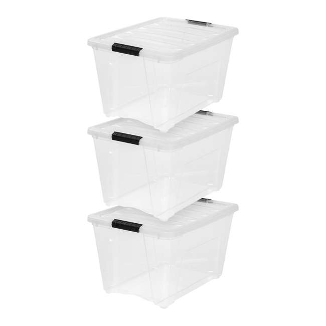 588335-3PK IRIS 53 Qt Stack & Pull Storage Lidded Container Box Bin System, Clear (3 Count)
